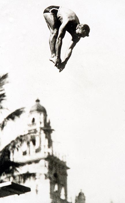 Peter Desjardins, arguably one of the best springboard divers ever, won gold in both the three-meter springboard and 10-meter platform events at the 1928 Olympics. A forward 1 1/2 gainer on the springboard that earned a perfect 10 from the judges punctuated his gold-medal day. Desjardins is still one of only three men to win gold in both events at an Olympics.