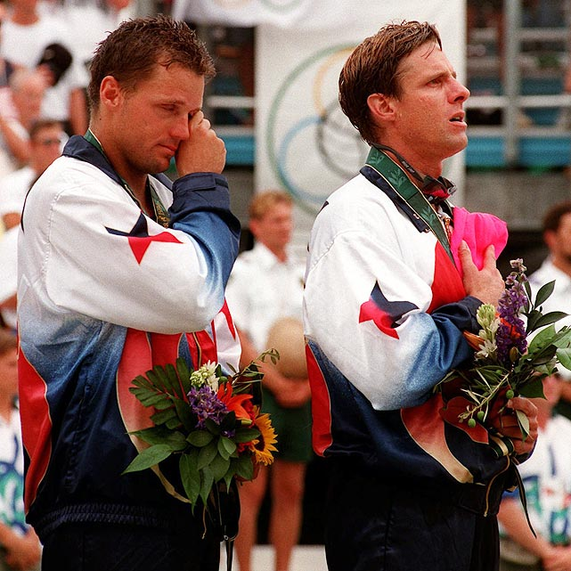 Even before the 1996 Games in Atlanta, Karch Kiraly (right) was considered one of the greatest U.S. volleyball players of all time. He had won gold in '84 and '88, and a beach volleyball title was the only thing missing from his resume. That, of course, was because beach volleyball wasn't an Olympic event prior to 1996. In Atlanta, Kiraly cemented his legacy by bumping, digging and diving his way to the inaugural gold with the help of his partner, Kent Steffes. Kiraly retired as the only volleyball player in Olympic history with three golds.
