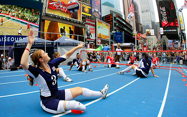 Sitting volleyball players compete on a makeshift surface. The London Paralympic Games take place from Aug. 29 to Sept. 9.