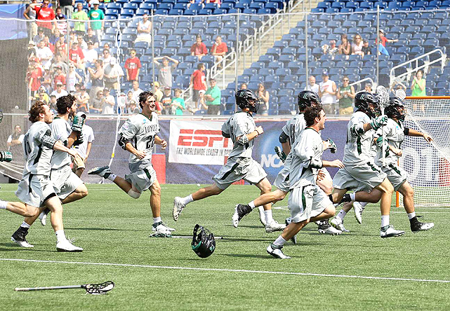 Loyola's players charged the field as they secured the championship.