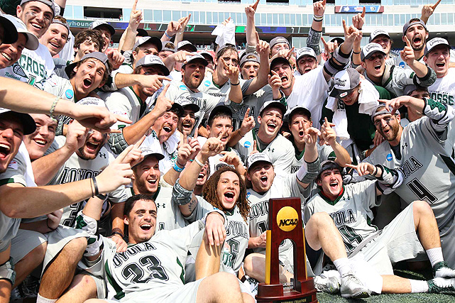 The Loyola Greyhounds celebrate their first NCAA lacrosse championship.