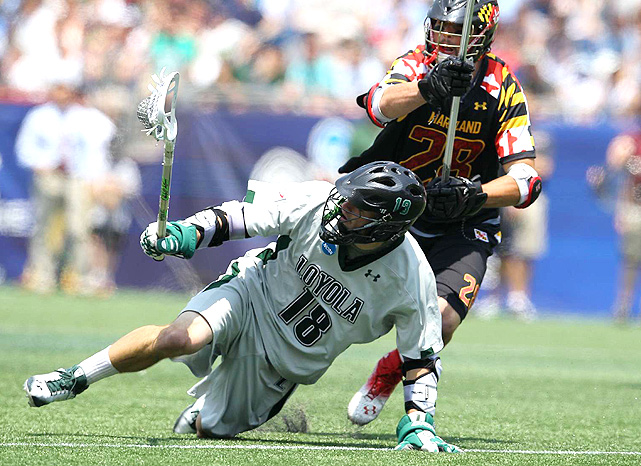 Loyola's Nikko Pontrello controls the ball against Maryland defender Michael Ehrhardt.