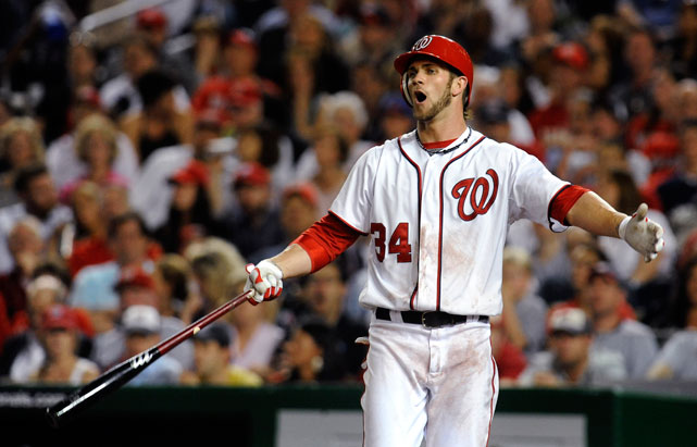 Harper reacts after striking out in the seventh inning during a game against the Phillies.
