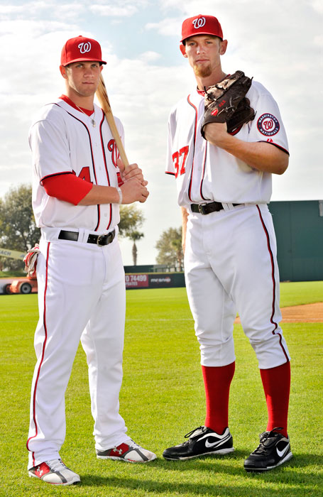 Nationals top draft picks Bryce Harper and Stephen Strasburg pose during a 2011 Media Day Photo at the Nats' spring training facility in Viera, Fla.