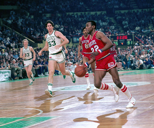 Andrew Toney drives to the basket during a 1983 game at the Boston Garden.
