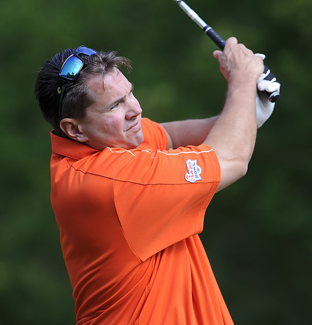 "Miami's Al Golden repeated as the long-drive winner at 303 yards. Meanwhile, Ohio State's Urban Meyer won the closest to the pin competition, coming two feet from the hole.  ""No matter what we're all competitors and we have an appreciation for what we all do professionally and how demanding is,"" Golden said. ""I think everyone really enjoys the opportunity to relax and enjoy it and get to know each other."""