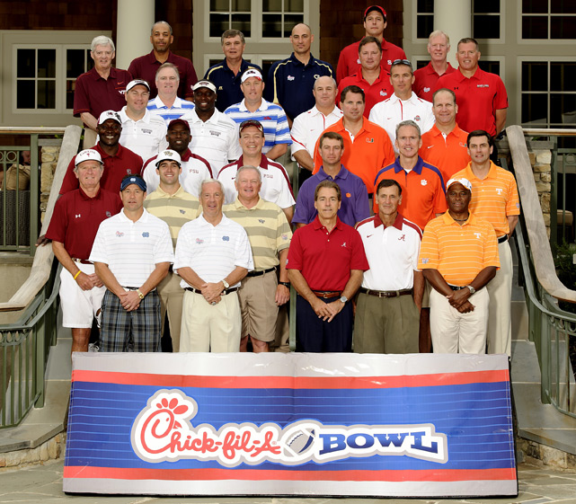 Some of the biggest names in college football, along with their celebrity partners, hit the links at Reynolds Plantation resort in Greensboro, Ga., to compete for a share of a $520,000 scholarship purse in the sixth annual Chick-fil-A Bowl Challenge.  This year's field included the teams of Nick Saban and Johnny Musso (Alabama), Dabo Swinney and Steve Fuller (Clemson), Jimbo Fisher and Terrell Buckley (Florida State), Paul Johnson and Jon Barry (Georgia Tech), Randy Edsall and Stan Gelbaugh (Maryland), Al Golden and Gino Torretta (Miami), Dan Mullen and Fred McCrary (Mississippi State), Larry Fedora and Roy Williams (North Carolina), Urban Meyer and Jeff Logan (Ohio State), Tom O'Brien and Tom Gugliotta (NC State), Hugh Freeze and Sean Tuohy (Ole Miss), Steve Spurrier and Sterling Sharpe (South Carolina), Derek Dooley and Stanley Morgan (Tennessee) and Frank Beamer and Dell Curry (Virginia Tech) and Jim Grobe and Riley Skinner (Wake Forest).