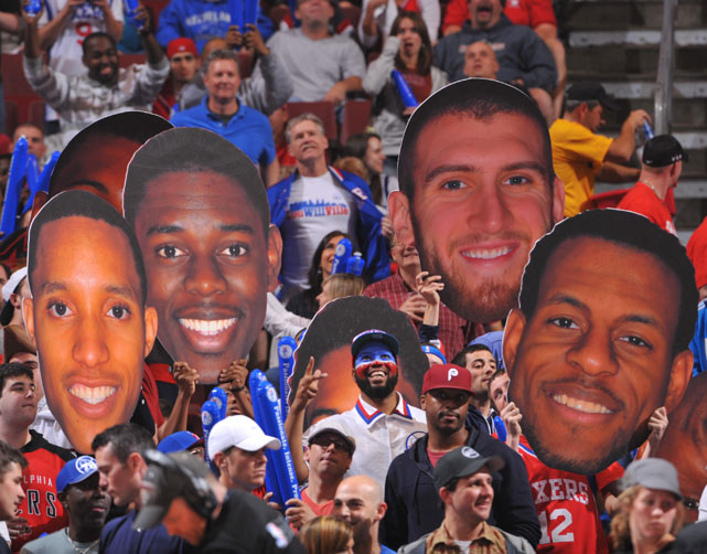 Philadelphia fans honor Evan Turner, Jrue Holiday, Spencer Hawes and Andre Iguodala during Game 6 of the 76ers first round series against the Bulls.