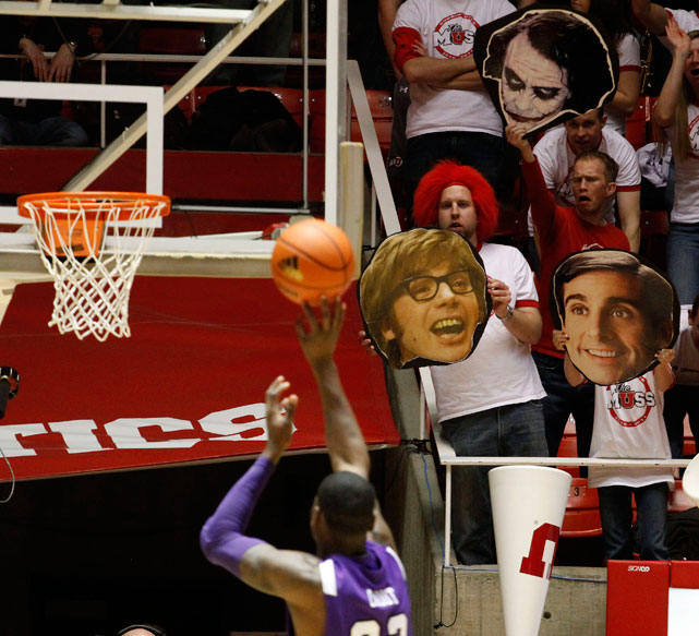 There hasn't been an  Austin Powers  movie in 10 years, but that didn't stop these Utah fans from busting out his image during a game against TCU. Also making an appearance is  The 40-Year-Old Virgin- era Steve Carell.
