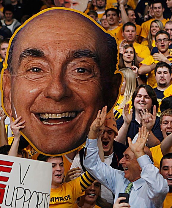 Dick Vitale stands next to his own Fathead during a March 2012 game between Murray State and St. Mary's.