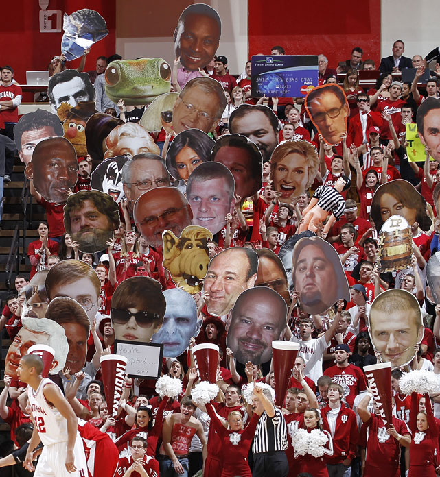 Indiana fans were in Fathead heaven during a game against Wisconsin earlier this season. Among the faces are Justin Bieber, Michael Jordan, David Beckham, Alf and others.