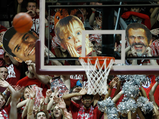 St. Joseph's forward Ronald Roberts earns a spot next to Macaulay Culkin and Mel Gibson in the stands of a game against Temple.