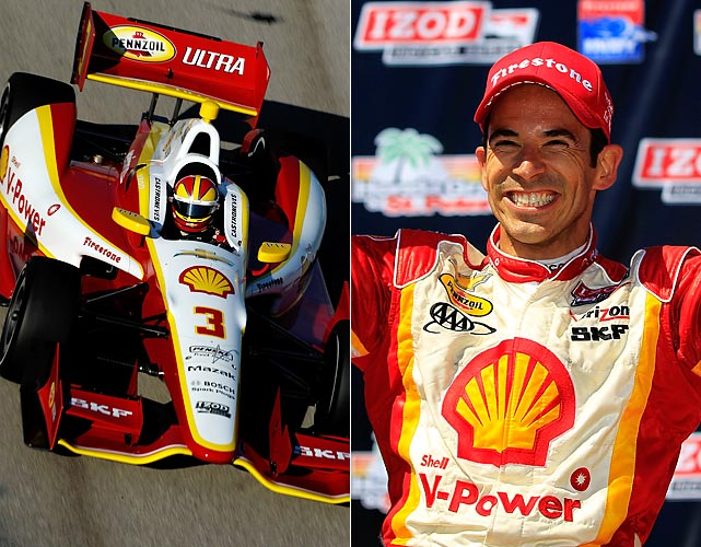 The Team Penske driver is attempting to become the fourth four-time winner of the Indianapolis 500. Castroneves hit Victory Lane in his first two attempts in 2001 and 2002, and his third win in 2009 was emotional because it came one month after he was acquitted of tax evasion charges. Castroneves, who drove to victory in the season-opening race at St. Petersburg on March 25, is one of the most popular drivers in the IZOD IndyCar Series and became a mainstream name when he won  Dancing with the Stars  in 2007. While the likeable Brazilian always has a smile on his face for the fans he is a fierce competitor on the track and is currently second in the series points standings trailing teammate Will Power by 45 points. He has three wins, five podiums (top three), five top-five and nine top-10 finishes 11 Indianapolis 500 starts. If Castroneves scores his fourth Indy 500 win he would join legends A.J. Foyt, Al Unser and Rick Mears as the only drivers to accomplish that. He is also the only non-American three-time Indy 500 winner. Castroneves starts on the outside of Row 2 after qualifying sixth with a four-lap average of 225.172 mph on Pole Day.