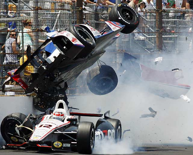 Mike Conway went airborne over Will Power's car and survived this crash.