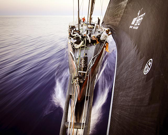 Michi Mueller from Germany adjusts the sail onboard PUMA Ocean Racing powered by BERG during the Volvo Ocean Race. The team arrived in Miami on May 8, winning the sixth leg of the race.