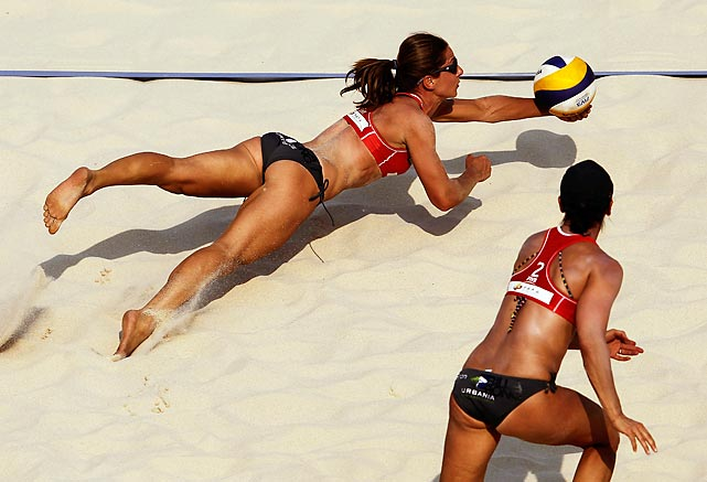 Annie Martin of Canada dives for the ball during a preliminary match at the 2012 Swatch FIVB World Tour Beijing Grand Slam in China.