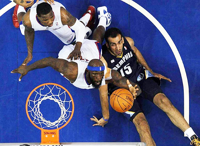 Memphis Grizzlies and Los Angeles Clippers players battle for the ball during Game 6 of their first-round playoff series. The Clippers won in seven games.