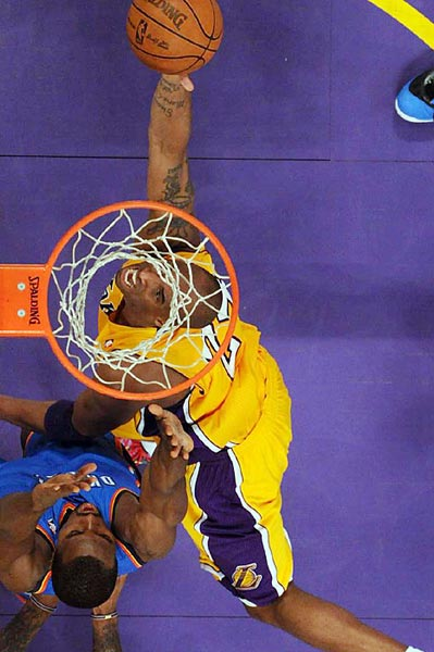 Kobe Bryant attempts to score during Game 4 of the second-round series against Oklahoma City.