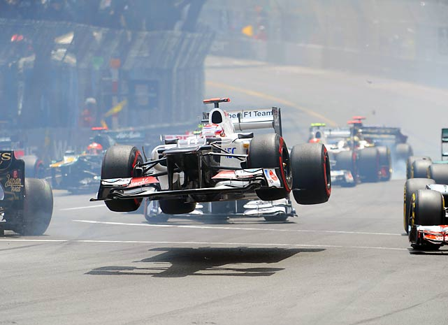 Kamui Kobayashi's car goes airborne during the Formula One Monaco Grand Prix race.
