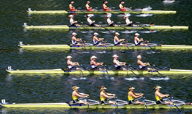 China, Germany, the U.S., Great Britain and Australia take off at the start during the women's quad race at the Rowing World Cup in Lucerne, Switzerland.