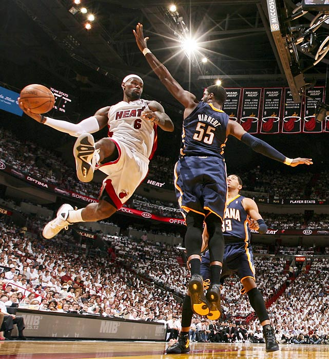 LeBron James attacks Roy Hibbert in Game 5 of the NBA Eastern Conference semifinals.