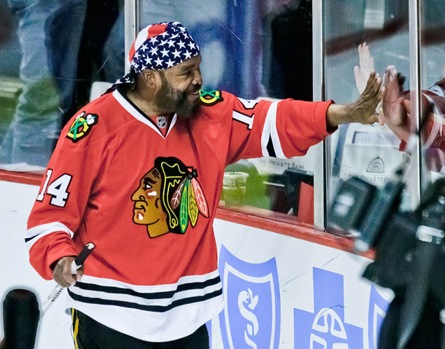 Mr. T gets the home crowd fired up before a 2011 game between the Blackhawks and Red Wings.