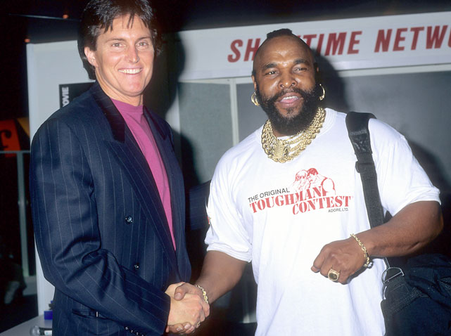 Bruce Jenner and Mr T pose for a portrait in Dec. 1993.