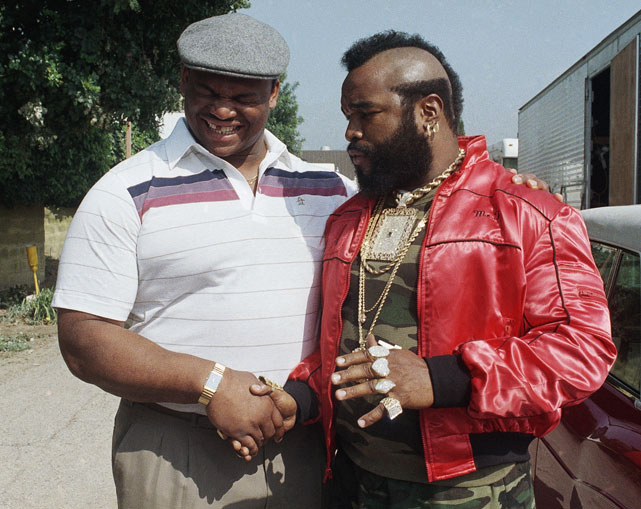 "Mr. T welcomes  William ""Refrigerator"" Perry to the set of  The A-Team  as the Bears popular star made a cameo on the show."