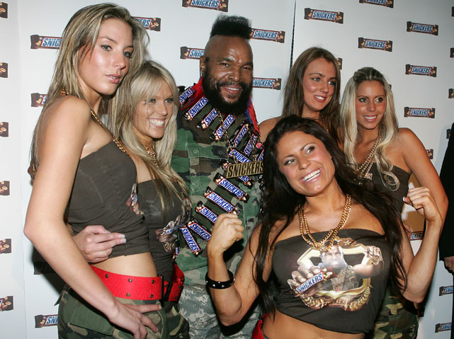 Mr T poses for a photo while promoting Snickers in Melbourne, Australia.