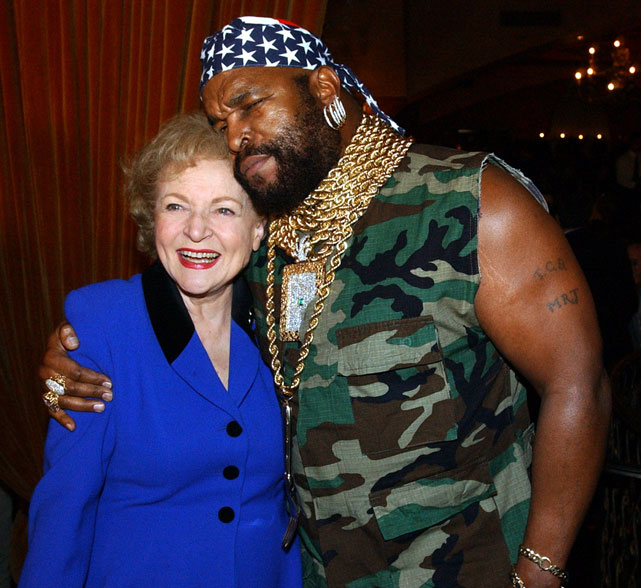 Betty White and Mr. T share a moment at NBC's 75th Anniversary Party.