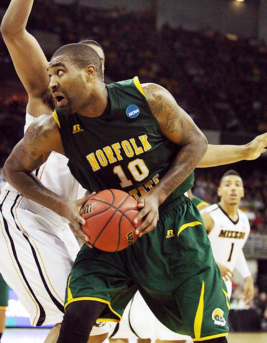 O'Quinn may not make the first-round cut, but he has improved his stock significantly in recent months. First he was the classic March Madness darling, getting 26 points and 14 rebounds to lead No. 15 Norfolk State past No. 2 Missouri in the first round. O'Quinn kept it going in April at a heavily scouted tournament for college seniors, the Portsmouth Invitational, where he was named MVP and showed off the skills that helped him average 15.9 points and 10.3 rebounds as a senior.