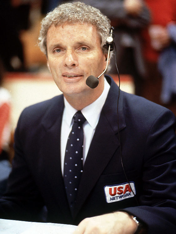 Here's Brown working as a broadcaster for the USA Network in 1982.
