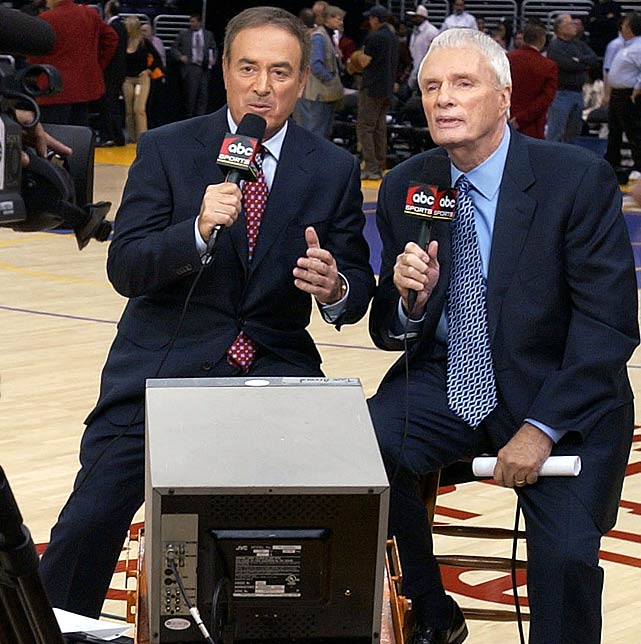 Brown and broadcaster Al Michaels call the Lakers-Heat game for ABC on Christmas Day in 2005. It is the first game Brown covers for ABC after his resignation as Grizzlies coach.
