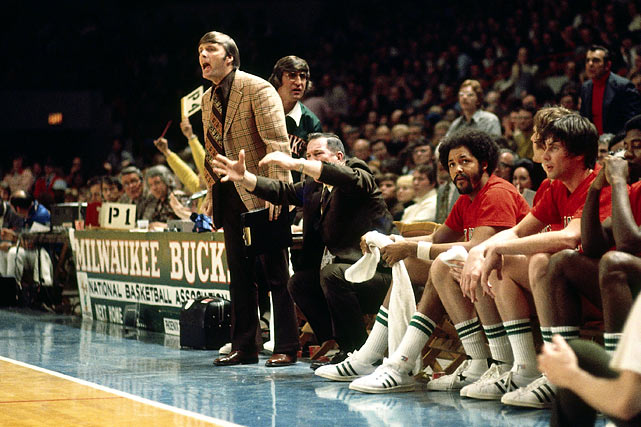 Brown, then an assistant for the Bucks, calls a play during a 1974 game at the Mecca in Milwaukee.