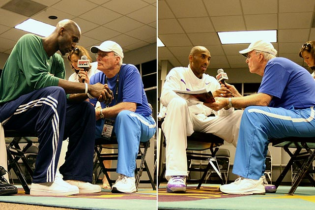 Celtics forward Kevin Garnett (left) answers questions from Brown for ESPN Radio prior to Game Four of the 2008 NBA Finals against the Lakers. Right, Lakers guard Kobe Bryant talks to Brown prior to the same game.