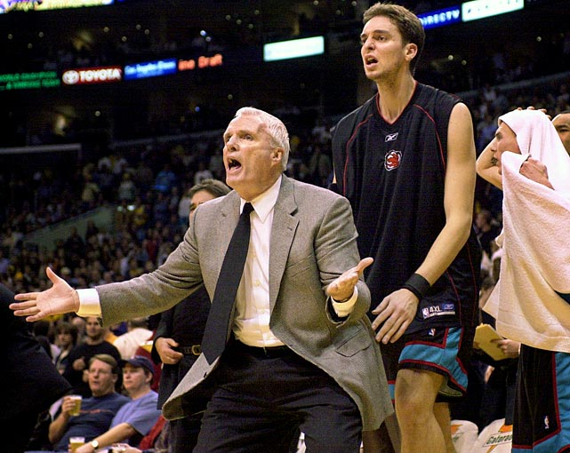 Brown, now coaching the Grizzlies, expresses disbelief along with players Pau Gasol, middle, and Jason Williams, right, during a game against the Lakers in 2002.