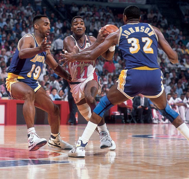 After a 63-19 regular season, the Bad Boys lost twice to the Bulls in the Eastern Conference finals and that's it. They showed no mercy in a Finals sweep of the Lakers, who lost Byron Scott before the series and played without Magic Johnson for part of it. Detroit repeated as champion the following season.