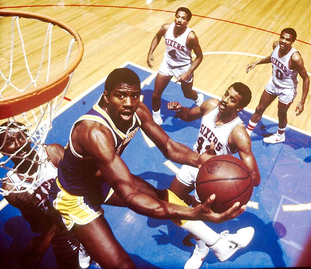 The Lakers' second title in three years was not without turmoil: Pat Riley replaced Paul Westhead as coach after a 7-4 start, a move that met with Magic Johnson's approval. Johnson & Co. didn't drop a game in dismissing Phoenix and San Antonio in the Western Conference playoffs before handling the Sixers in six in the Finals. This 57-25 group was the only one of the Lakers' five title-winning teams in the 1980s that did not win at least 60 regular-season games.