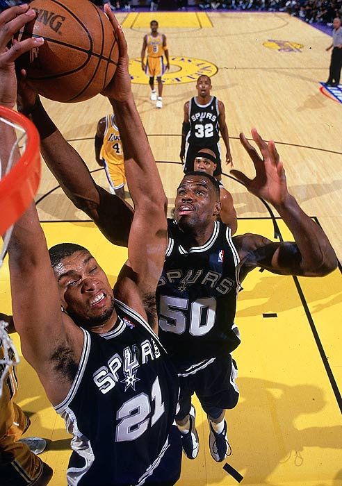 San Antonio won the first of four titles in the Tim Duncan era to cap a lockout-shortened season. The Spurs needed only five games in the Finals to dispatch the Knicks, the first No. 8 seed to reach the championship round, who faced San Antonio without an injured Patrick Ewing.