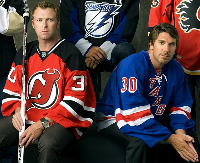 "As of the 2012 postseason, Rangers goalie Henrik Lundqvist held a dominating 23-7-5 record against Martin Brodeur, who has struggled against the Rangers since the Devils' first round playoff exit at their hands in 2008. In a March 2008  Sports Illustrated  story about the New York area's star goaltenders, Brodeur made it clear that he was not particularly impressed by his Ranger rival. ""The way he plays the game is not something I like too much,"" Brodeur told SI's Michael Farber. ""Lundqvist is weird."""