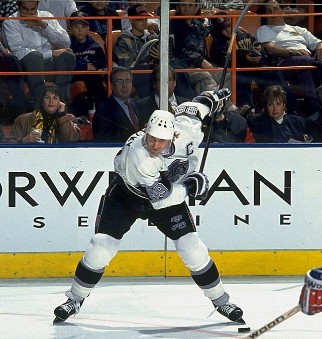 "The Kings and the NHL landscape were changed dramatically when the Great One was sent to LA in ""The Trade"" on August 9, 1988: Gretzky, Marty McSorley and Mike Krushelnyski from Edmonton for Jimmy Carson, Martin Gelinas, $15 million and first-round picks in 1989, 1991 and 1993. Gretzky spent eight seasons with the Kings, leading them to the 1993 Stanley Cup Final against Patrick Roy and the Canadiens. Other Kings highlights: setting the team record for points in a season (168 in 1988-1989), passing Gordie Howe as the NHL's all-time points leader (reaching 1,851 on 10/15/89) and goals leader (802, on 3/23/94), and winning three scoring titles as well as the 1988-89 Hart Trophy as league MVP."