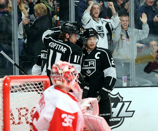 The Kings caught fire in March as they scrapped to get back into the playoff race. Their desperation led to a vital six-game winning streak that saw them take control of the competitive Pacific Division over the Phoenix Coyotes and San Jose Sharks for a brief period.  The streak began on March 11 when the visiting Kings defeated the Chicago Blackhawks in a shootout, 3-2.  After the victory in Chicago, they went on to beat the Red Wings, Ducks, Predators, Sharks and Blues, all of which made the playoffs with the exception of the Ducks.  By the final week of the season, though, the Kings cooled, backing into the playoffs with two season-ending losses to San Jose.