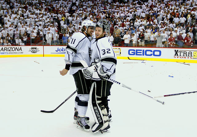 The Kings entered the series against the third-seeded Coyotes with an 8-1 playoff record, the first eight seed to ever beat a one and a two in the same year. Once again, they started a series on the road, and once again they took a commanding 3-0 lead. Phoenix staved off elimination in Game 4 in LA, but the Kings continued their dominance on the road by closing out the series in Game 5, reaching the Cup final for the first time since 1993. It was their eighth straight road victory of the postseason.  Jon Quick had a .939 save percentage and just eight goals-allowed. Dustin Brown and Anze Kopitar were a formidable one-two punch, combining for four goals, six assists and a plus-9 rating. Brown also drew the anger of the Coyotes with a devastating, late-game hit on defenseman Michal Rozsival that created a visibily tense atmosphere on the handshake line.