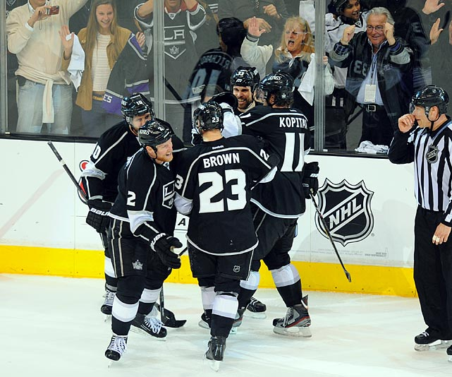 The Kings met the second-seeded St. Louis Blues, who had disposed of the Sharks in five first-round games and were playing stingy defense led by blueliners Alex Pietrangelo and Kevin Shattenkirk, and goalie Brian Elliott. However, the Kings beat them at their own game in a stunning four-game sweep. Dustin Brown, again, led the Kings' offense with two goals and four assists. Anze Kopitar contributed two goals and four helpers.  Complimenting LA's suddenly explosive offense, which preyed on Elliott as the Blues were unable to turn to injured backup Jaroslav Halak, Jonathan Quick turned in another top-notch series, allowing just six goals-against and finishing with a .941 save percentage to lead his squad into the Western Conference Final.