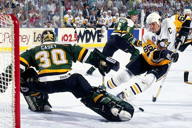 Minnesota owned an unsightly 27-39-14 regular season mark -- among Cambell Conference qualifiers, it was better than only Vancouver's 28-43-9 -- but the North Stars were able to battle their way out of the old Norris Division by upsetting Chicago (first overall in the conference) and St. Louis (second). Edmonton (fifth) fell in five and Mario Lemieux and the Penguins, the Wales Conference's third-best team, were up next in the battle for the silverware. Mike Modano, Neal Broten, Jon Casey and company proved a surprisingly tough out, taking a two-games-to-one lead and extending the Pens to six games before falling.