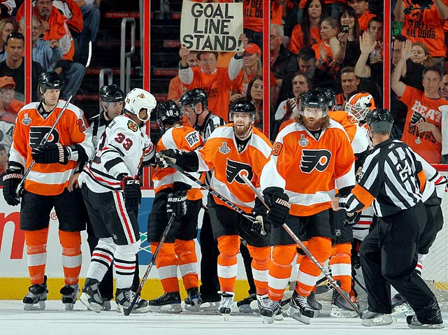 Spurred by a midseason coaching change from John Stevens to Peter Laviolette, the seventh-seeded Flyers, who finished behind New Jersey and Pittsburgh in the Atlantic Division, reached the Cup final by beating the Devils (2) in five games, the Bruins (6) in seven -- becoming only the third NHL team to ever come back from an 0-3 deficit -- and the Canadiens (8) in five. Philly got surprisingly good goaltending from a pair of journeymen -- Brian Boucher and Michael Leighton -- but the magic wore off in the Cup final vs. Chicago, with the Blackhawks winning in six.