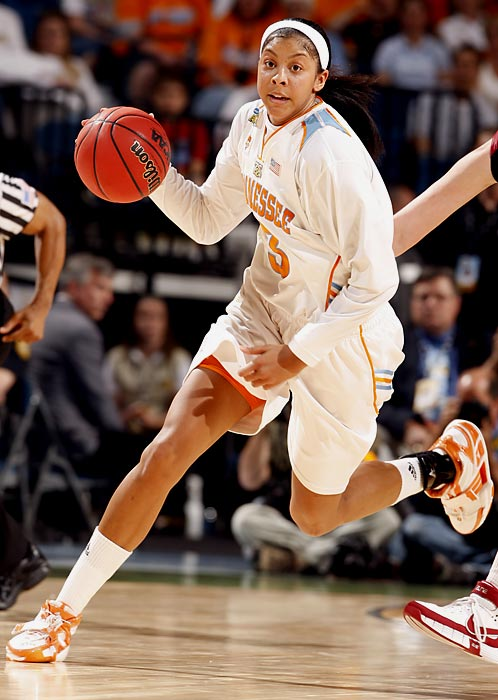 Before Candace Parker, dunking in basketball was a guy thing. But Parker, the younger sister of the NBA's Anthony Parker, proved women could do it too when she dunked not once, but twice in an NCAA Tournament game. Parker had a stellar collegiate career with the Tennessee Lady Vols; she won NCAA titles in 2007 and 2008, and won the Naismith College Player of the Year award in 2008. Parker was drafted first overall in the 2008 WNBA Draft by the Los Angeles Sparks.