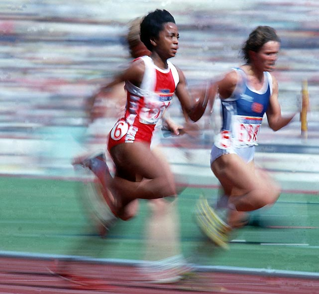 The recipient of one of the first female athletic scholarships at UCLA, Ashford rewarded the school by twice winning national championships in both the 100 and 200 meters. Ashford quit school in 1978 to train fulltime; the efforts paid off one year later when she defeated the East German world record holders in the 100 and 200-meter races at the 1979 World Cup. In 1996, at 35, Ashford became the oldest woman to win a gold medal in track and field as a member of the USA's 4x100 relay, closing a career that included four Olympic gold medals, a silver and two world records in the 100.