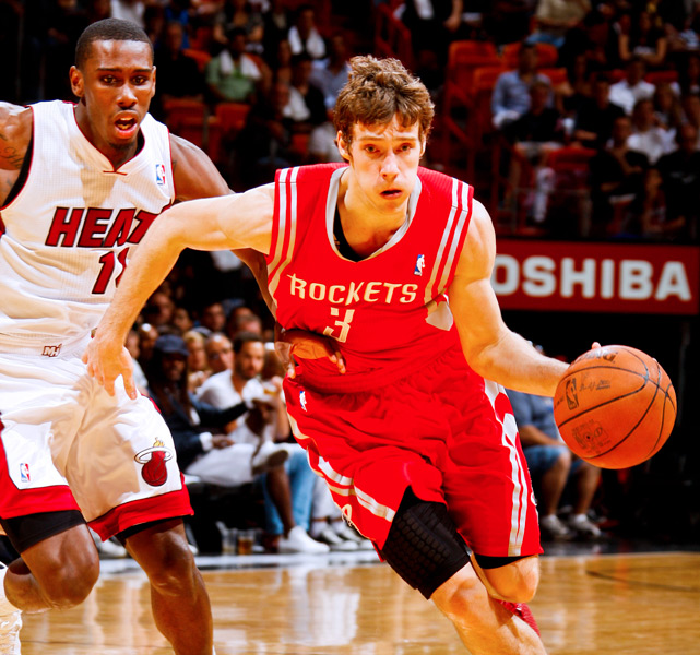 Age:  26    Position:  Point Guard   2011-12 Team:  Rockets    2011-12 Stats:  11.7 ppg, 5.3 apg, 2.5 rpg, 1.3 spg  Skinny:  With Dragic and Kyle Lowry, the Rockets have two starting point guards but just one spot. It's unlikely Houston keeps both this offseason.
