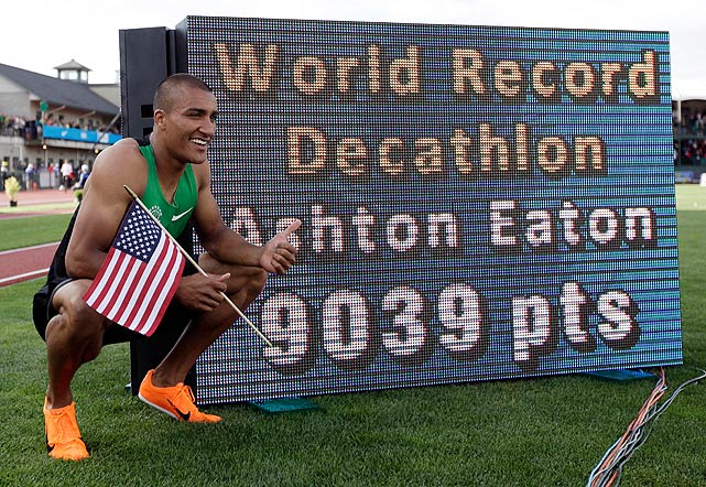 "After breaking the 11-year-old decathlon world record, Ashton Eaton took a minute to celebrate his accomplishment. He'll enter his first Olympics as the favorite in the event. ""Going into London, I'm not going to change a thing,"" Eaton told reporters. ""Clearly."""